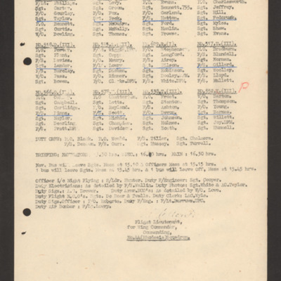 Operations order 28 February 1944