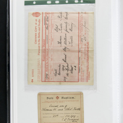 Ernie Twells' Birth and Baptism Certificates
