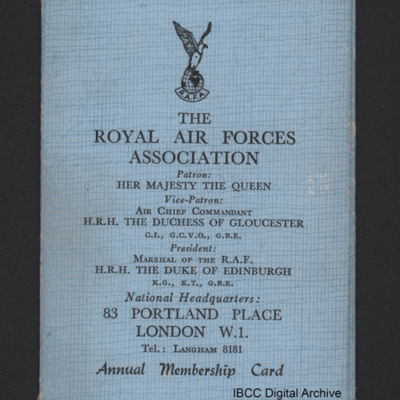 Geoffrey North Royal Air Forces Association membership card - Clacton-on-Sea