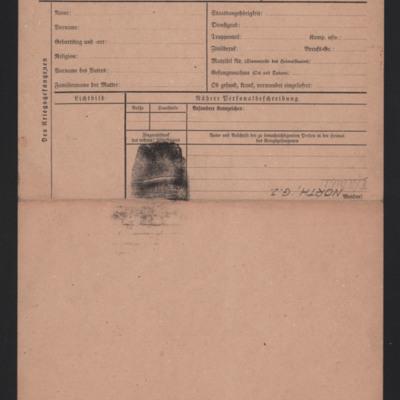 Prisoner of war Personalkarte for North