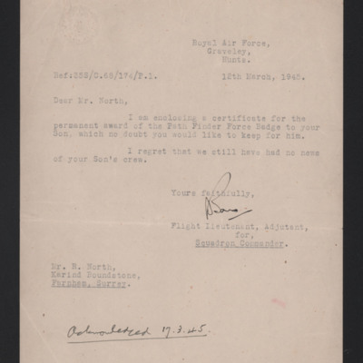 Letter to Geoffrey North's father concerning pathfinder badge