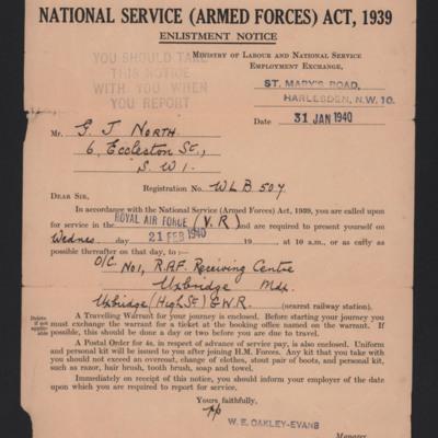 Geoffrey North enlistment notice