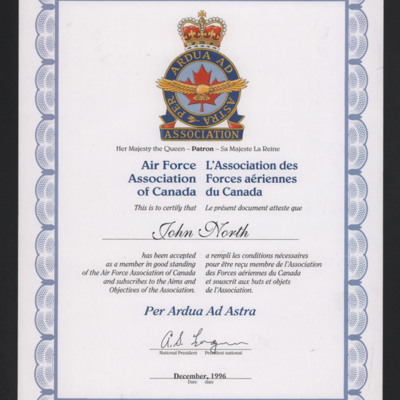 John North membership certificate for Air Forces Association of Canada