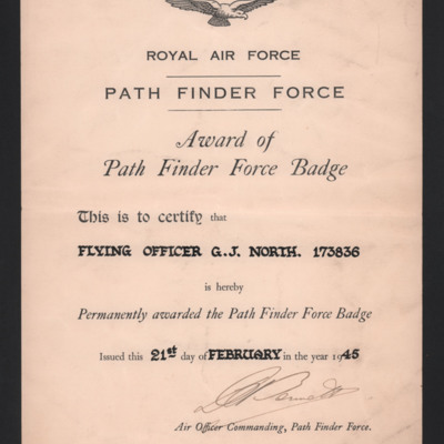 Certificate for award of path finder force badge