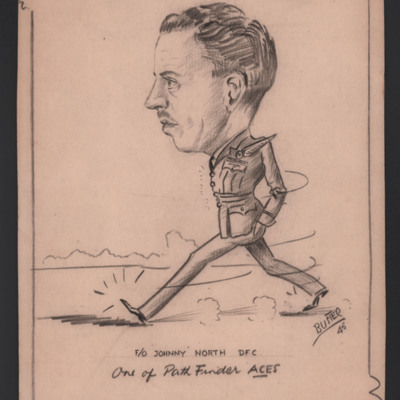Caricature of Flying Officer 'Johnny' North DFC