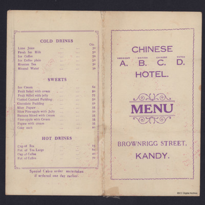 Chinese ABCD Hotel Menu