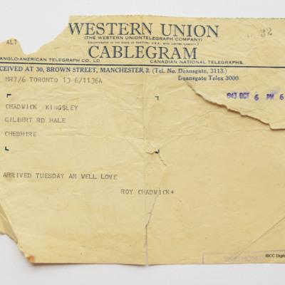 Telegram from Roy Chadwick