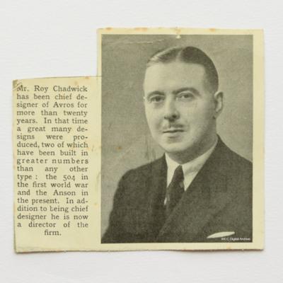 Newspaper cutting Roy Chadwick