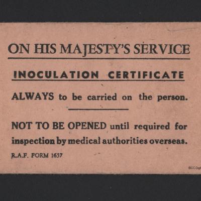 Bernard Mabey's Inoculation Certificate