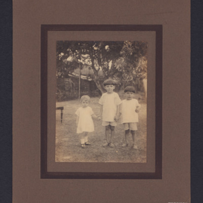 Two boys and a girl standing in garden