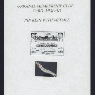 Caterpillar Club card and pin