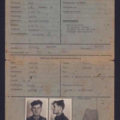 Fred Hooker's Prisoner Identity Card