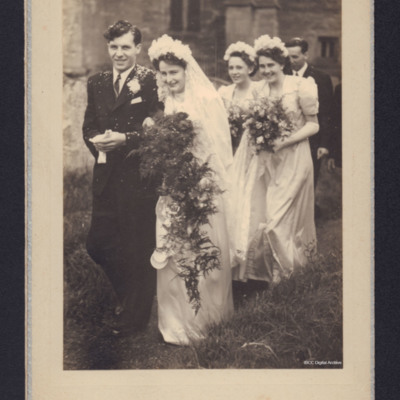 Donald and Sylvia Fraser and the bridesmaids