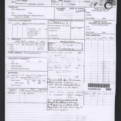 Arthur Horry's Record Sheet