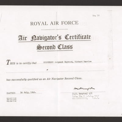 Dick Maywood's Air Navigator's Certificate