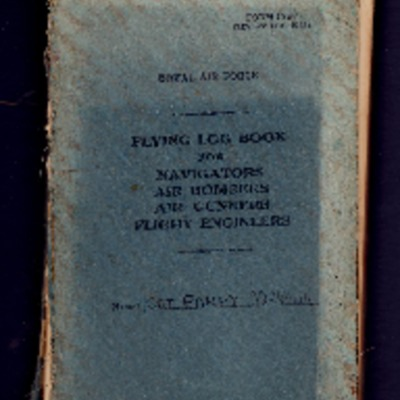 Hugh Parry's flying log book for navigators, air bombers, air gunners and flight engineers