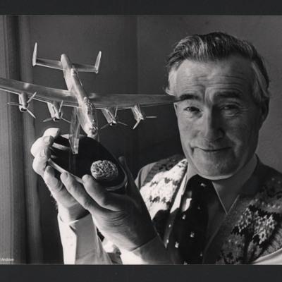 Reg Payne holding Lancaster model