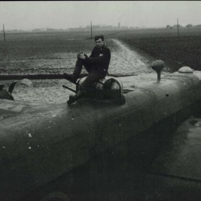 Crashed Halifax with German airman