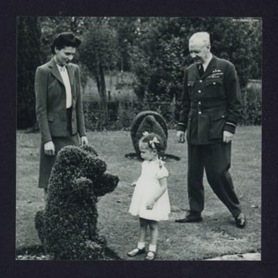 Air Chief Marshall Arthur Harris, his wife, Jacqueline in a garden
