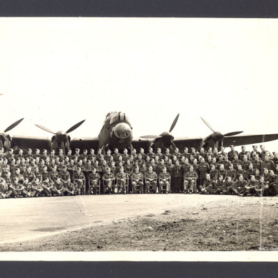 Flight Photo of crews with Lancaster at RAF Mepal