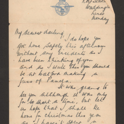 Letter and telegram from Harry Brooks to his wife
