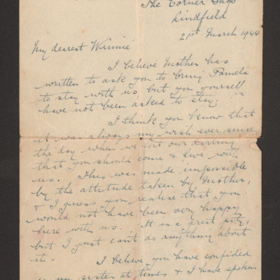Letter to Harry Brooks' wife Winnie from his father
