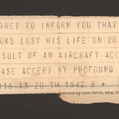 Telegram to Harry Brooks' wife from Officer Commanding 9 Squadron