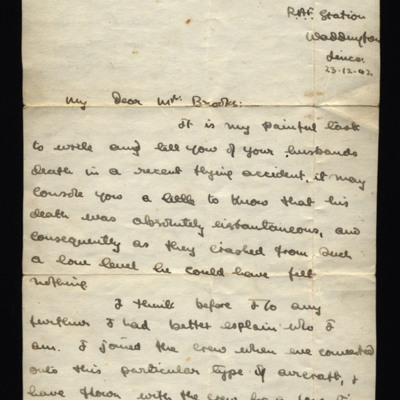 Letter from Sergeant A Pelly to Mrs Brooks