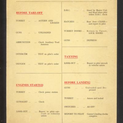 Lincoln gunner's checklist