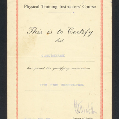 Certificate for physical training instructors' course