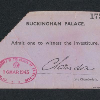 Ticket to investiture