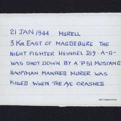 Note on loss of Hauptman Manfred Murer