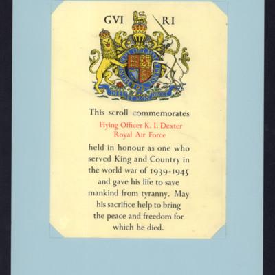 Keith Dexter commemorative scroll