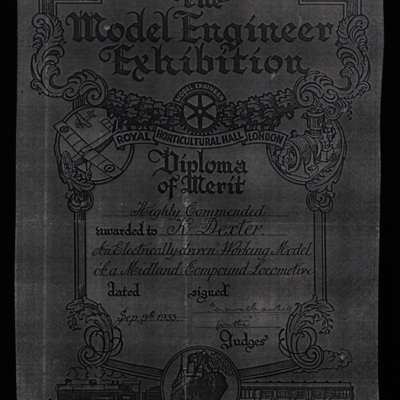Model Engineer exhibition certificate