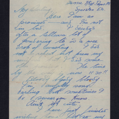 Letter from Malcolm Payne to Doris Weeks