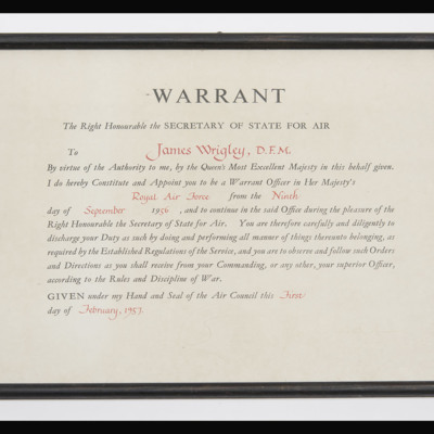 Warrant appointing James Wrigley Warrant Officer