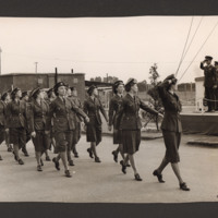 Members of the Women's Auxiliary Air Force on a march past