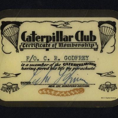 Charles Godfrey's Caterpillar Club membership card