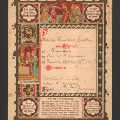 Charles Godfrey baptism certificate