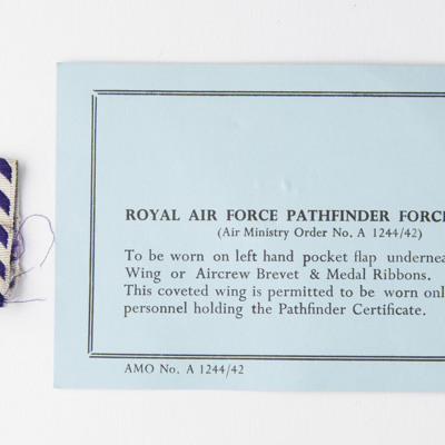 Distinguished Flying Cross ribbon and note on Pathfinder badge