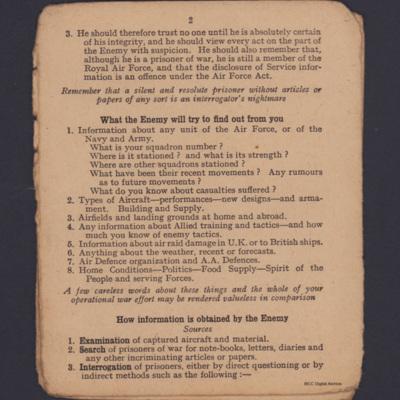 Notes for captured Airmen