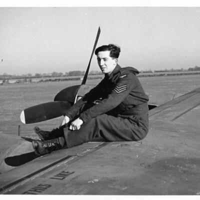 Airman on a Lancaster