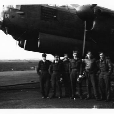 Six airmen and a Lancaster nose