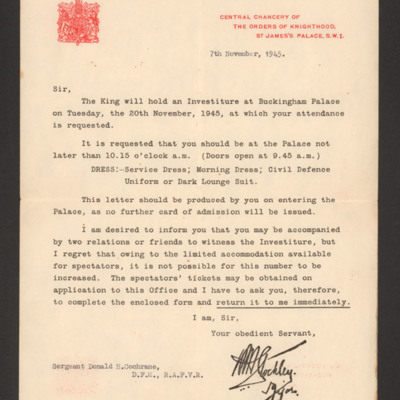 Donald Cochrane invitation to investiture at Buckingham Palace