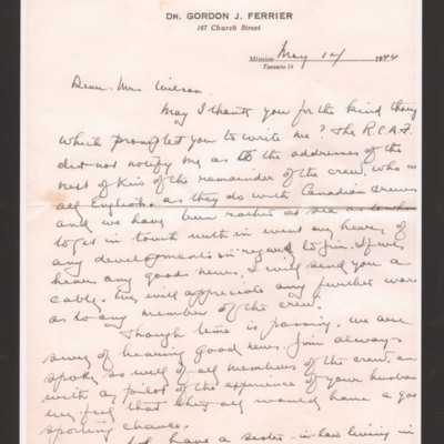 Letter to Mrs Wilson from Jim Ferrier's father