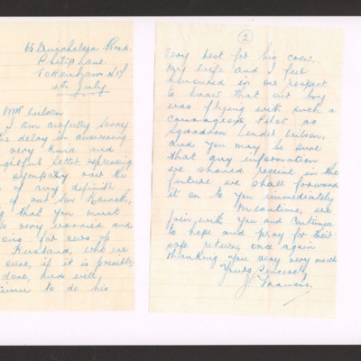 Letter to Mrs Wilson from Kenneth Francis's father