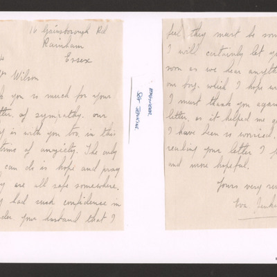 Letter to Mrs Wilson from mother of Sergeant Jenkins