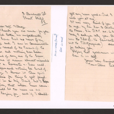 Letter to Mrs Wilson from  father of Sergeant T Liddle