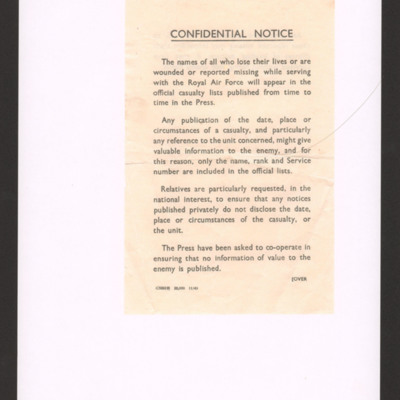 Official guidance to relatives on privately published notices concerning RAF casualties.