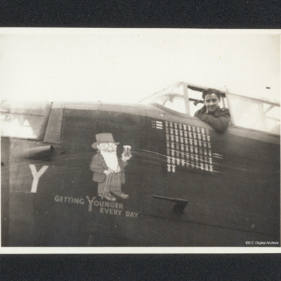 Airman in the cockpit of Lancaster